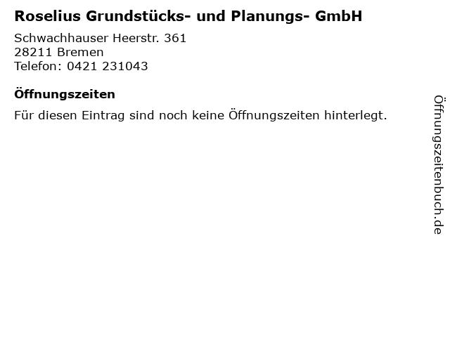 Roselius Grundstücks- und Planungs- GmbH in Bremen: Adresse und Öffnungszeiten
