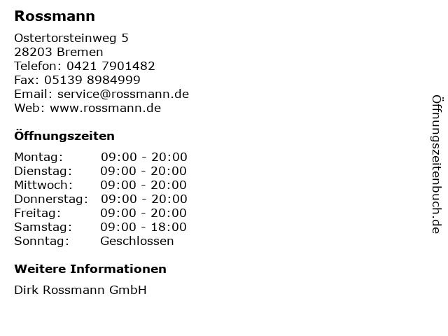 Rossmann in Bremen: Adresse und Öffnungszeiten