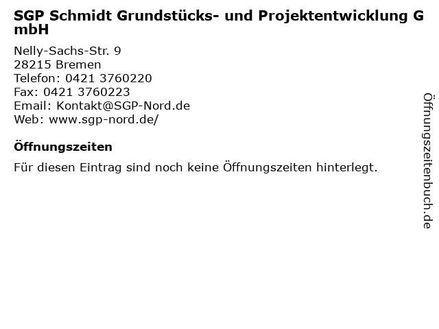 SGP Schmidt Grundstücks- und Projektentwicklung GmbH in Bremen: Adresse und Öffnungszeiten
