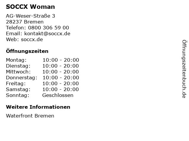 SOCCX Woman in Bremen: Adresse und Öffnungszeiten