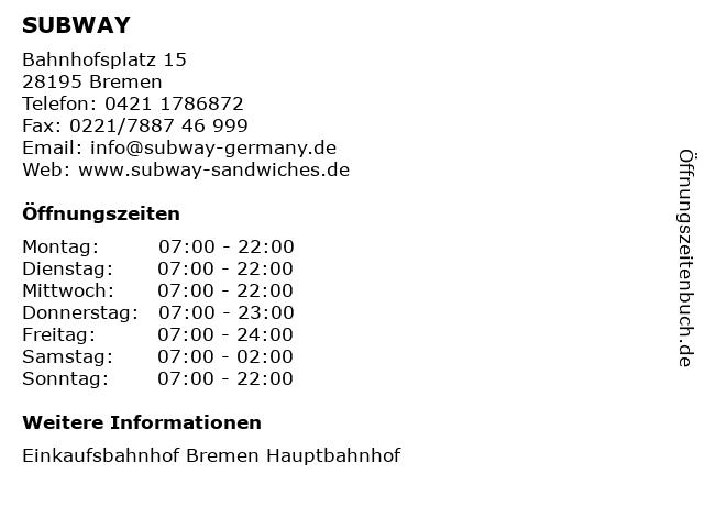SUBWAY in Bremen: Adresse und Öffnungszeiten