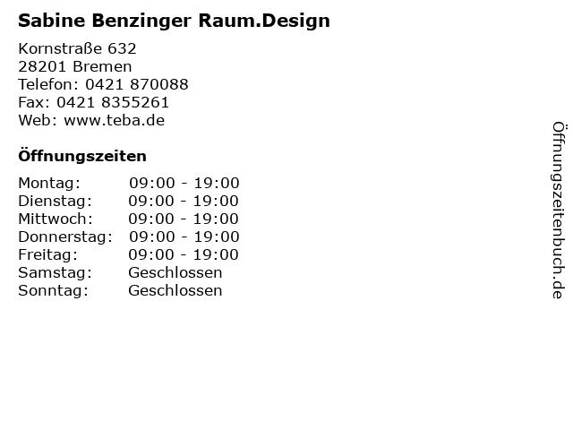 Sabine Benzinger Raum.Design in Bremen: Adresse und Öffnungszeiten