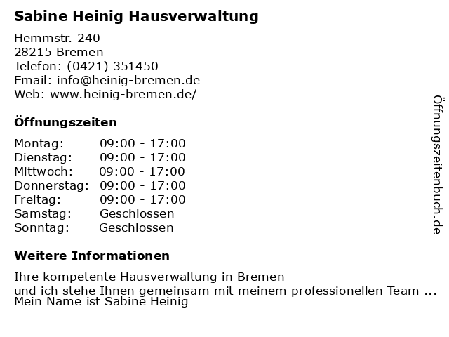 Sabine Heinig Hausverwaltung in Bremen: Adresse und Öffnungszeiten
