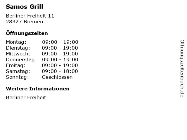 Samos Grill in Bremen: Adresse und Öffnungszeiten