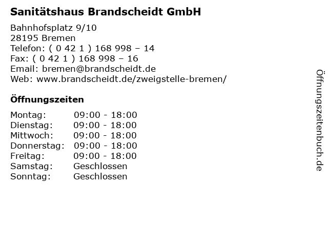 Sanitätshaus Brandscheidt GmbH in Bremen: Adresse und Öffnungszeiten