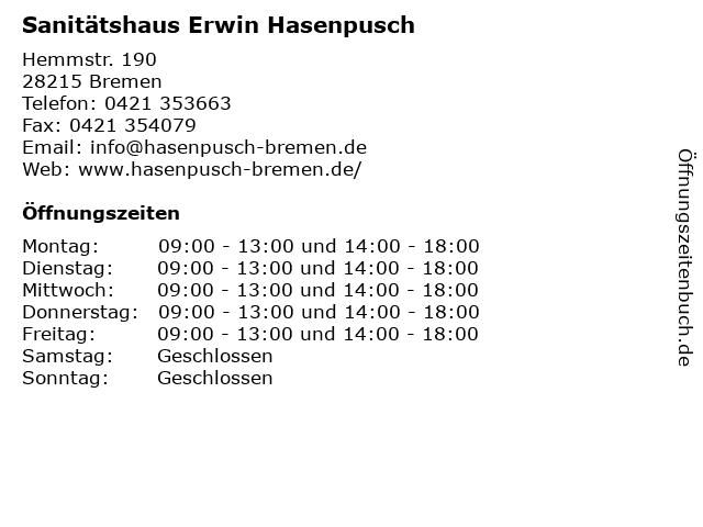 Sanitätshaus Erwin Hasenpusch in Bremen: Adresse und Öffnungszeiten