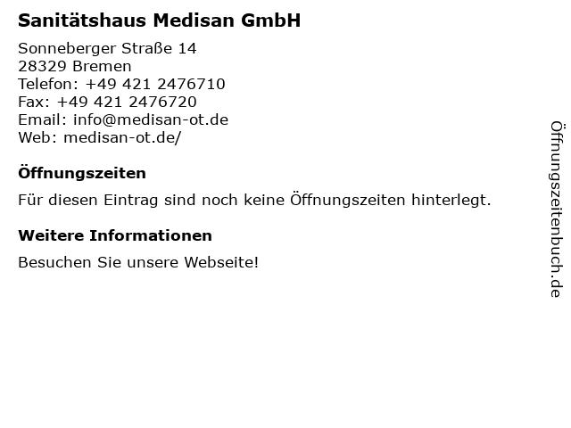 Sanitätshaus Medisan GmbH in Bremen: Adresse und Öffnungszeiten