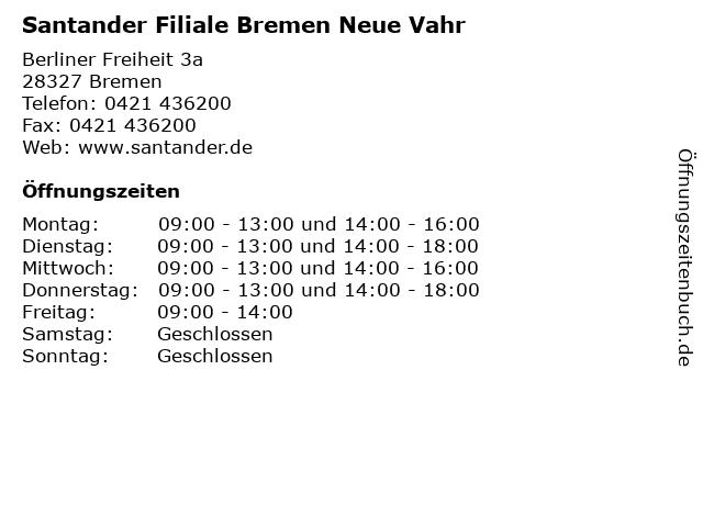Santander Filiale Bremen Neue Vahr in Bremen: Adresse und Öffnungszeiten