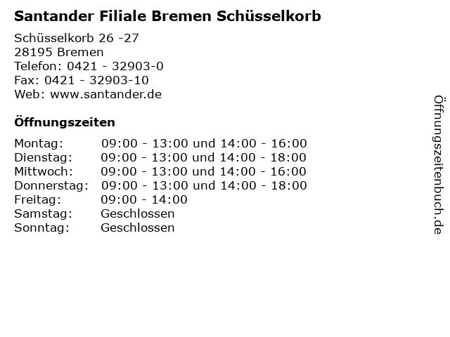 Santander Filiale Bremen Schüsselkorb in Bremen: Adresse und Öffnungszeiten