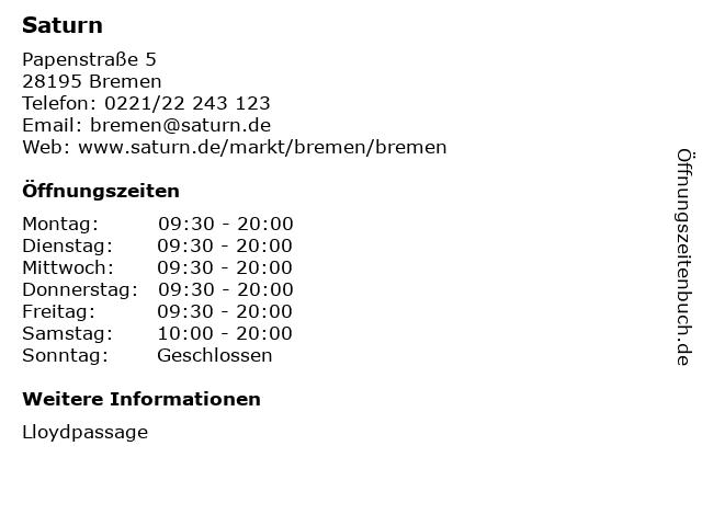 Saturn in Bremen: Adresse und Öffnungszeiten