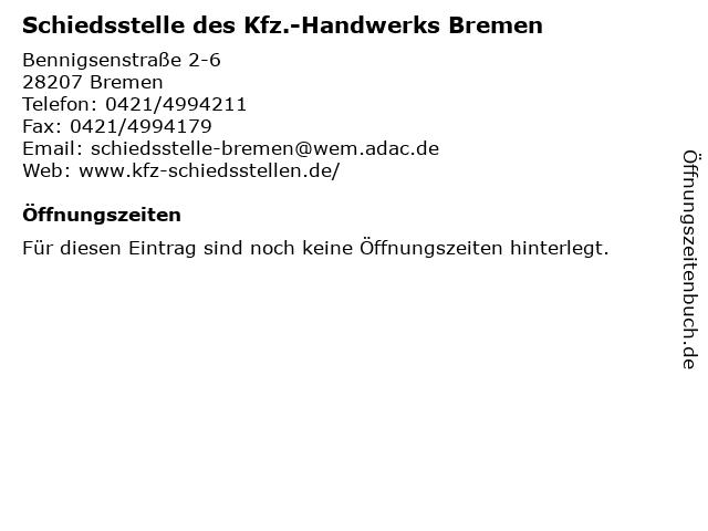 Schiedsstelle des Kfz.-Handwerks Bremen in Bremen: Adresse und Öffnungszeiten
