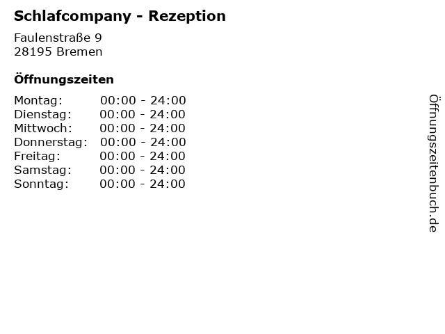 Schlafcompany - Rezeption in Bremen: Adresse und Öffnungszeiten