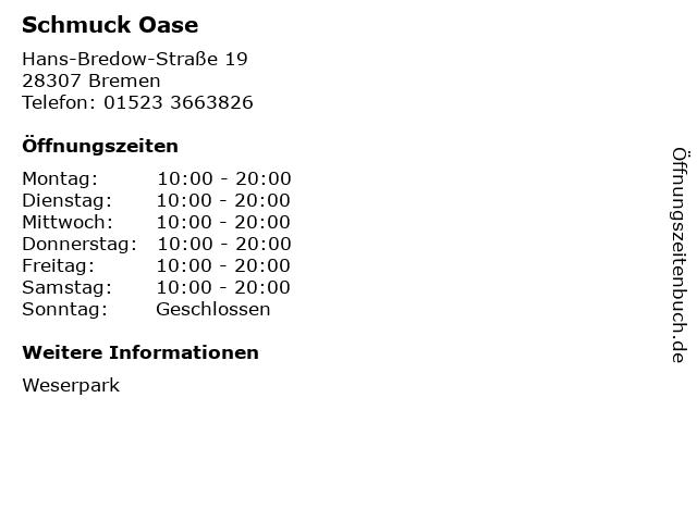 Schmuck Oase in Bremen: Adresse und Öffnungszeiten