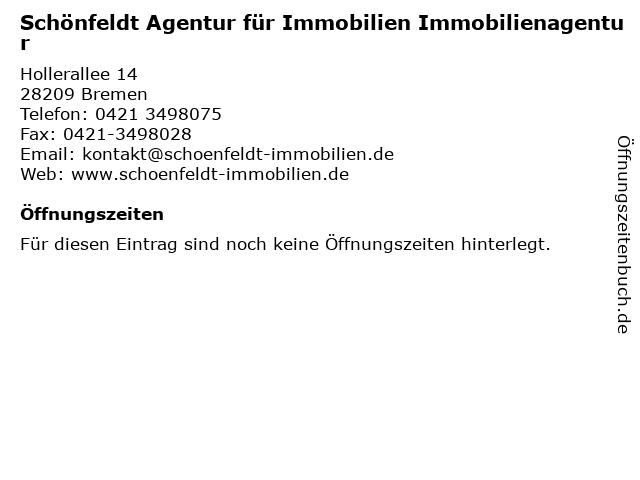 Schönfeldt Agentur für Immobilien Immobilienagentur in Bremen: Adresse und Öffnungszeiten
