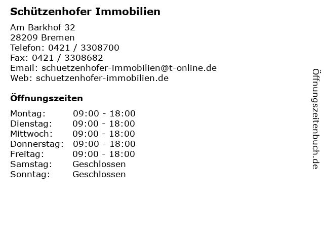 Schützenhofer Immobilien in Bremen: Adresse und Öffnungszeiten