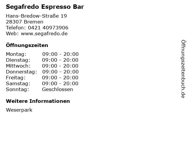 Segafredo Espresso Bar in Bremen: Adresse und Öffnungszeiten
