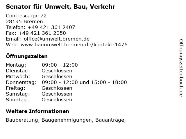 Senator für Umwelt, Bau, Verkehr in Bremen: Adresse und Öffnungszeiten