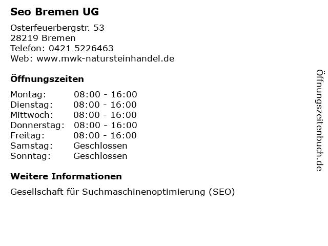 Seo Bremen UG in Bremen: Adresse und Öffnungszeiten