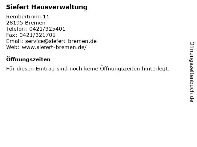Siefert Hausverwaltung in Bremen: Adresse und Öffnungszeiten