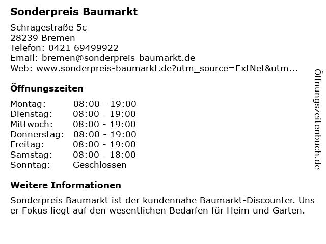 Sonderpreis Baumarkt in Bremen: Adresse und Öffnungszeiten