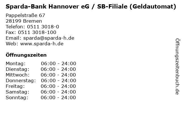 Sparda-Bank Hannover eG / SB-Filiale (Geldautomat) in Bremen: Adresse und Öffnungszeiten