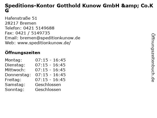 Speditions-Kontor Gotthold Kunow GmbH & Co.KG in Bremen: Adresse und Öffnungszeiten