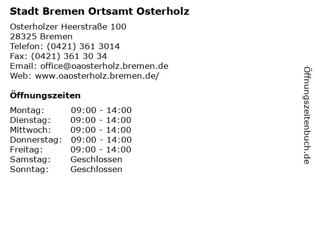 Stadt Bremen Ortsamt Osterholz in Bremen: Adresse und Öffnungszeiten