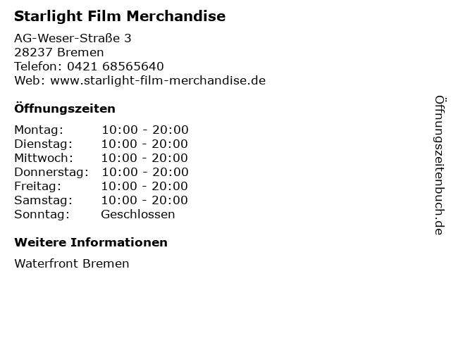 Starlight Film Merchandise in Bremen: Adresse und Öffnungszeiten