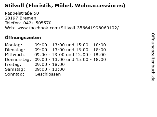 Stilvoll (Floristik, Möbel, Wohnaccessiores) in Bremen: Adresse und Öffnungszeiten