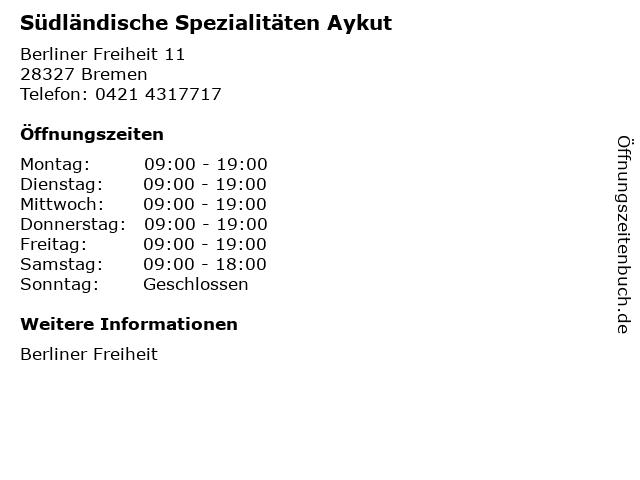 Südländische Spezialitäten Aykut in Bremen: Adresse und Öffnungszeiten