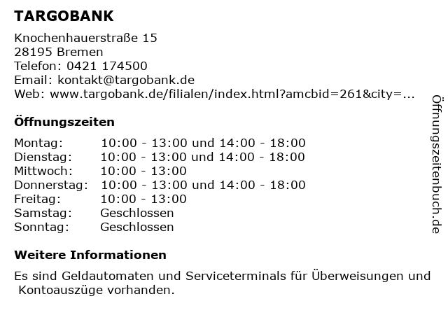 TARGOBANK in Bremen: Adresse und Öffnungszeiten