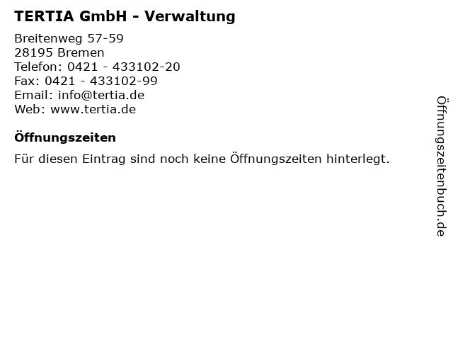 TERTIA GmbH - Verwaltung in Bremen: Adresse und Öffnungszeiten