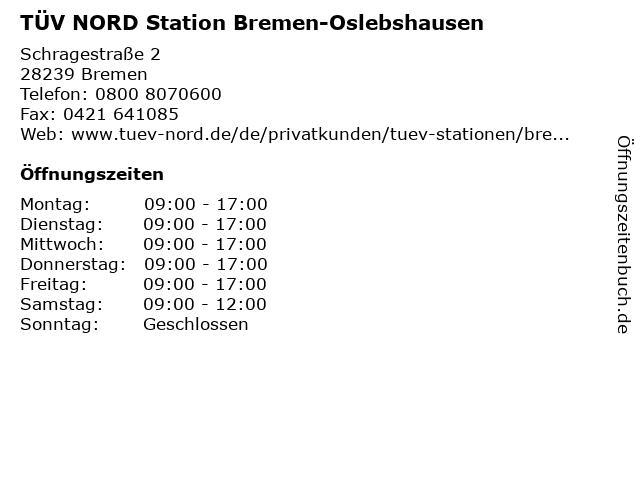 TÜV-STATION Bremen-Oslebshausen in Bremen: Adresse und Öffnungszeiten