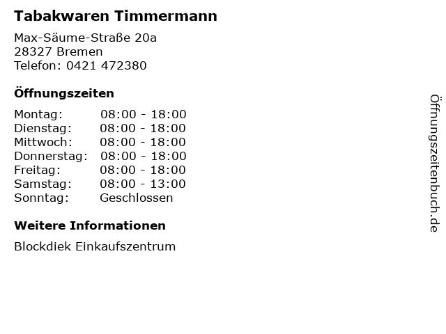 Tabakwaren Timmermann in Bremen: Adresse und Öffnungszeiten