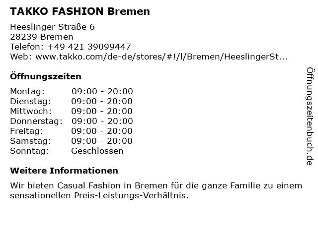 Takko Fashion in Bremen: Adresse und Öffnungszeiten