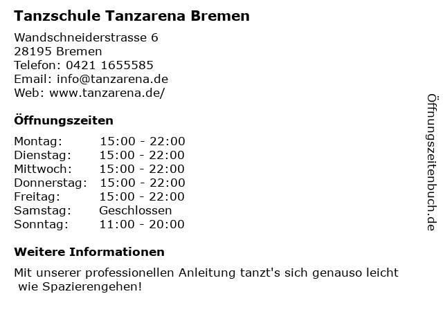 Tanzschule Tanzarena in Bremen: Adresse und Öffnungszeiten