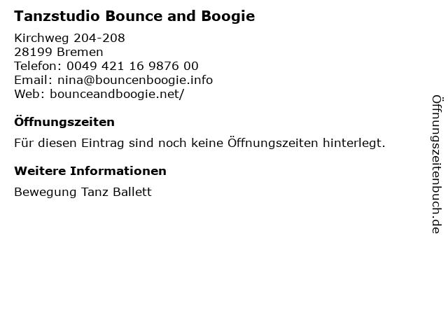 Tanzstudio Bounce and Boogie in Bremen: Adresse und Öffnungszeiten