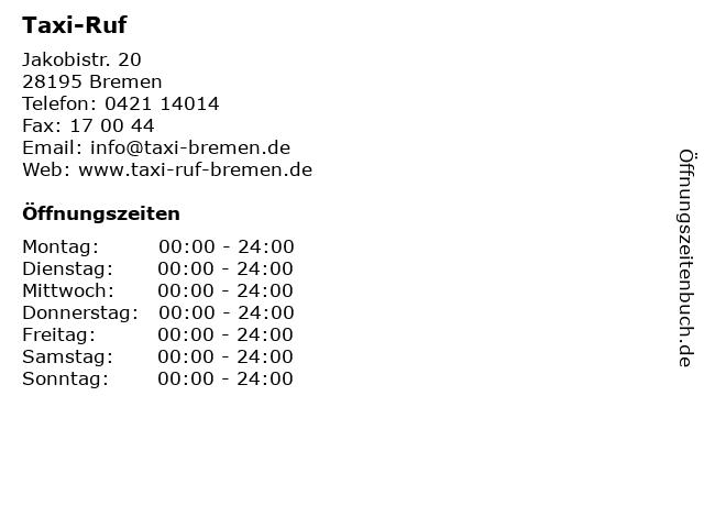 Taxi-Ruf in Bremen: Adresse und Öffnungszeiten