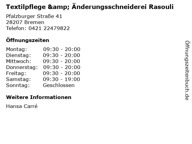 Textilpflege & Änderungsschneiderei Rasouli in Bremen: Adresse und Öffnungszeiten