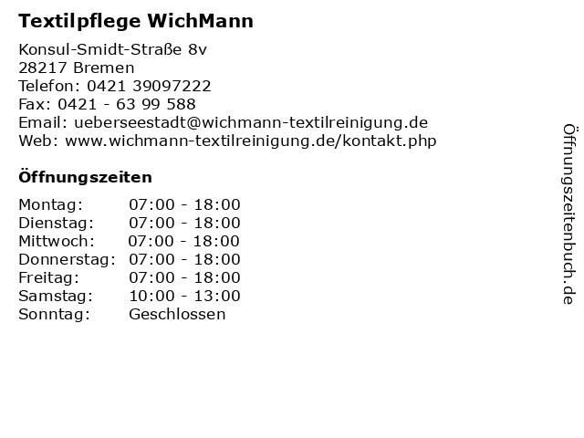 Textilpflege WichMann in Bremen: Adresse und Öffnungszeiten