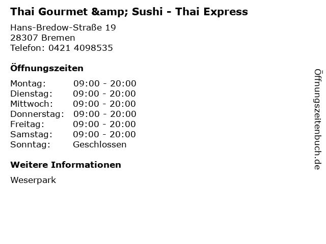 Thai Gourmet & Sushi - Thai Express in Bremen: Adresse und Öffnungszeiten
