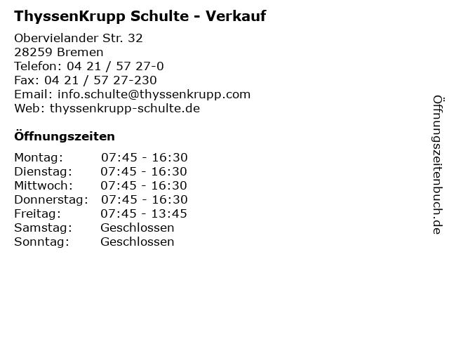 ThyssenKrupp Schulte - Verkauf in Bremen: Adresse und Öffnungszeiten