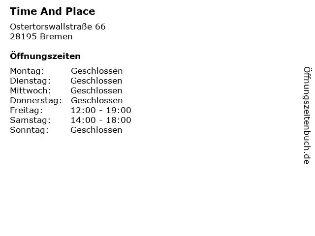 Time And Place in Bremen: Adresse und Öffnungszeiten