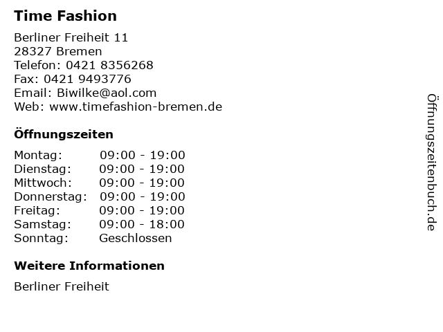 Time Fashion in Bremen: Adresse und Öffnungszeiten