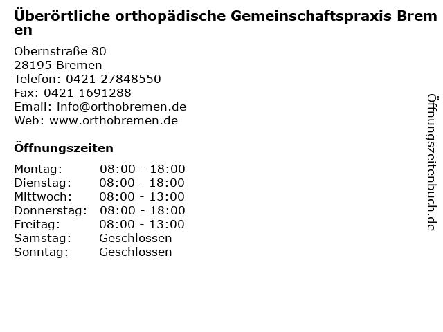 Überörtliche orthopädische Gemeinschaftspraxis Bremen in Bremen: Adresse und Öffnungszeiten