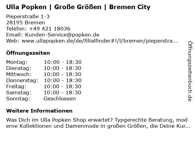 Ulla Popken in Bremen: Adresse und Öffnungszeiten