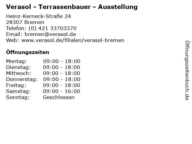 Verasol - Terrassenbauer - Ausstellung in Bremen: Adresse und Öffnungszeiten