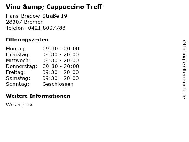 Vino & Cappuccino Treff in Bremen: Adresse und Öffnungszeiten