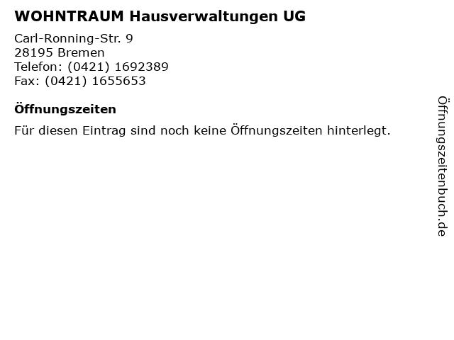 WOHNTRAUM Hausverwaltungen UG in Bremen: Adresse und Öffnungszeiten