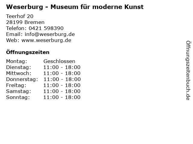 Weserburg - Museum für moderne Kunst in Bremen: Adresse und Öffnungszeiten